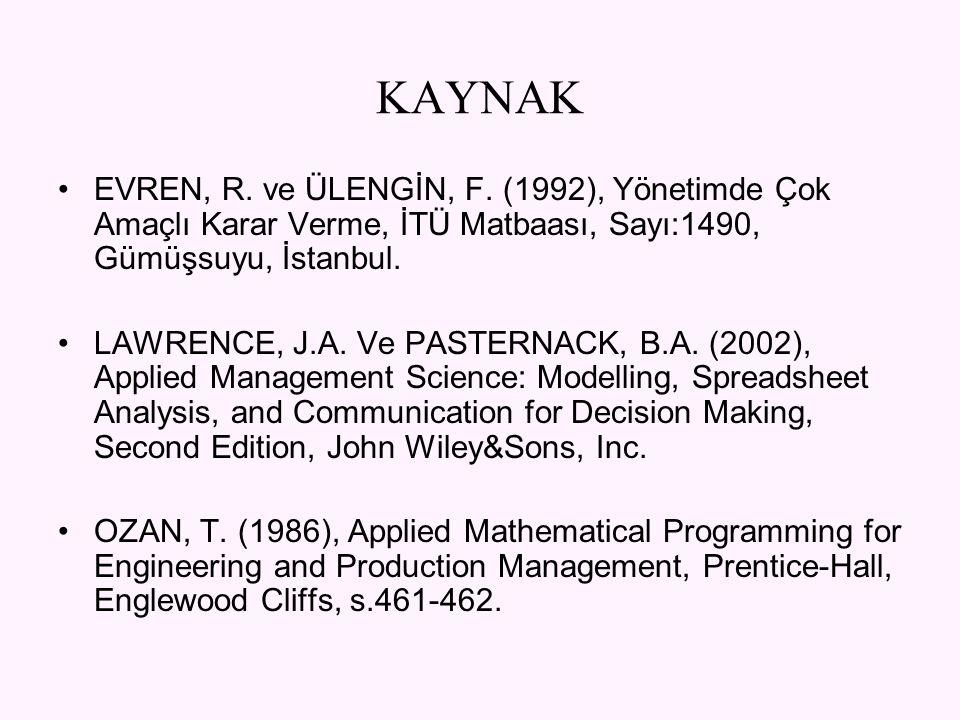 KAYNAK EVREN, R. ve ÜLENGİN, F. (1992), Yönetimde Çok Amaçlı Karar Verme, İTÜ Matbaası, Sayı:1490, Gümüşsuyu, İstanbul. LAWRENCE, J.A. Ve PASTERNACK,