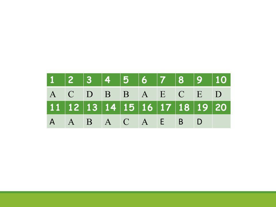 12345678910 ACDBBAECED 11121314151617181920 A ABACA EBD