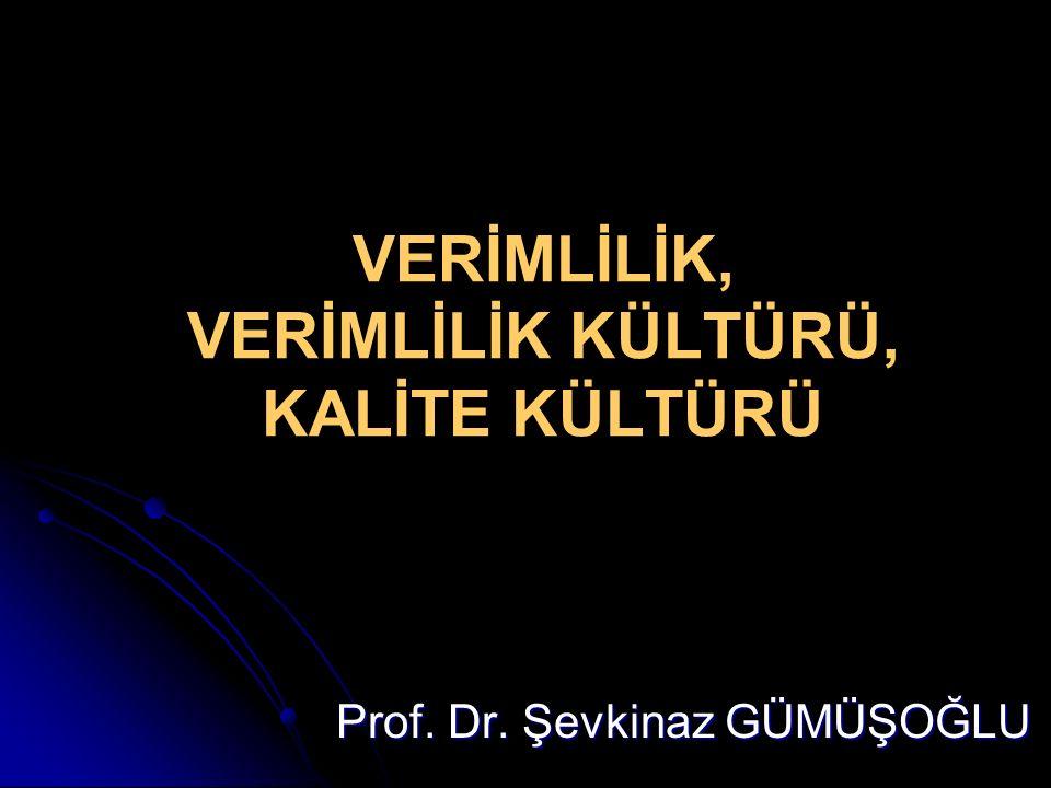 VERİMLİLİK, VERİMLİLİK KÜLTÜRÜ, KALİTE KÜLTÜRÜ Prof. Dr. Şevkinaz GÜMÜŞOĞLU