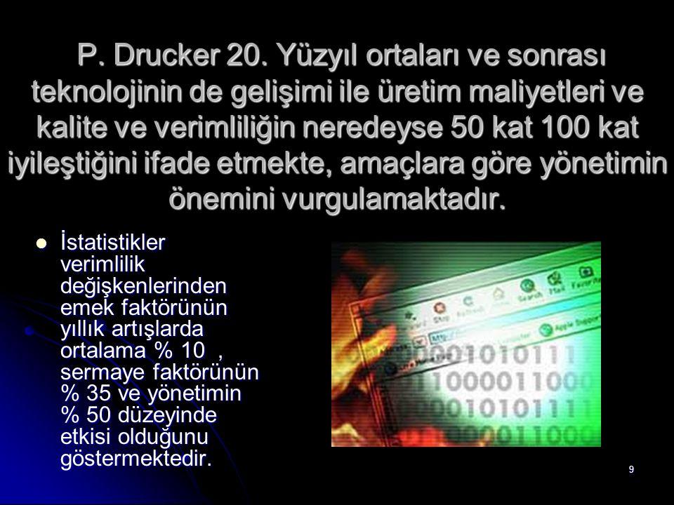 9 P. Drucker 20. Yüzyıl ortaları ve sonrası teknolojinin de gelişimi ile üretim maliyetleri ve kalite ve verimliliğin neredeyse 50 kat 100 kat iyileşt