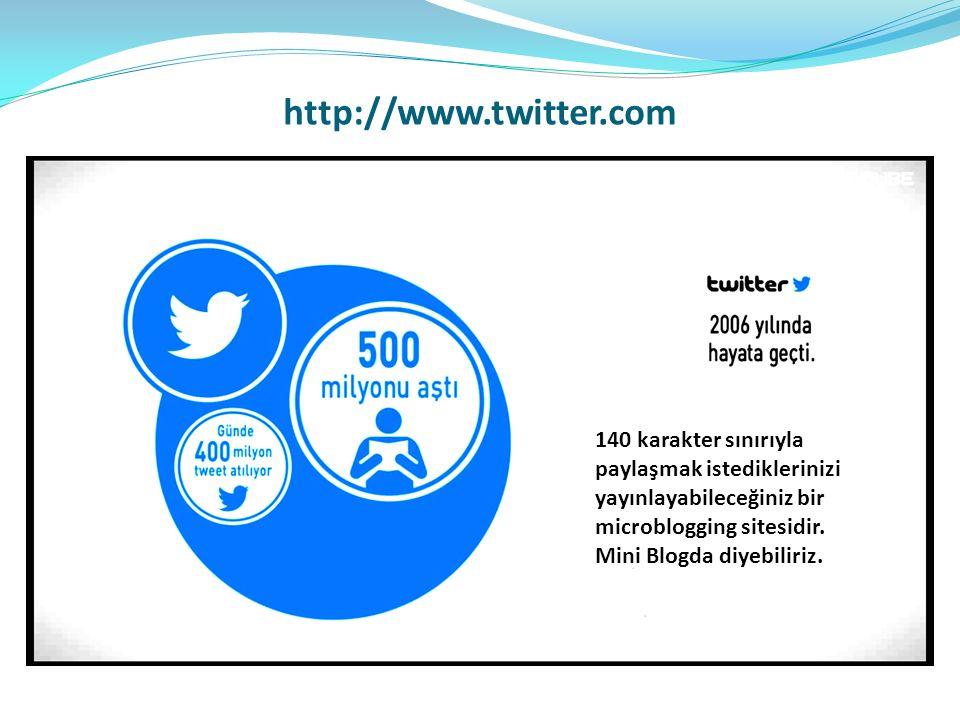 http://www.twitter.com 140 karakter sınırıyla paylaşmak istediklerinizi yayınlayabileceğiniz bir microblogging sitesidir. Mini Blogda diyebiliriz.