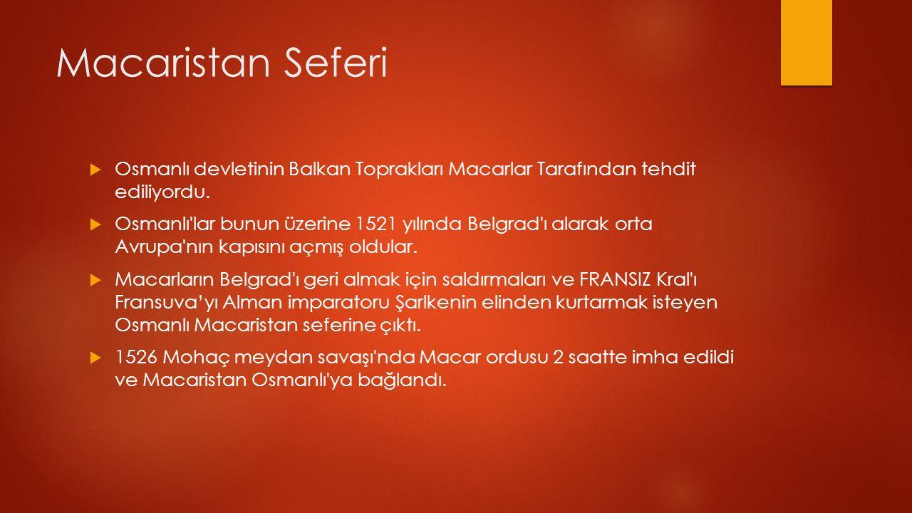 Macaristan Seferi  Osmanlı devletinin Balkan Toprakları Macarlar Tarafından tehdit ediliyordu.