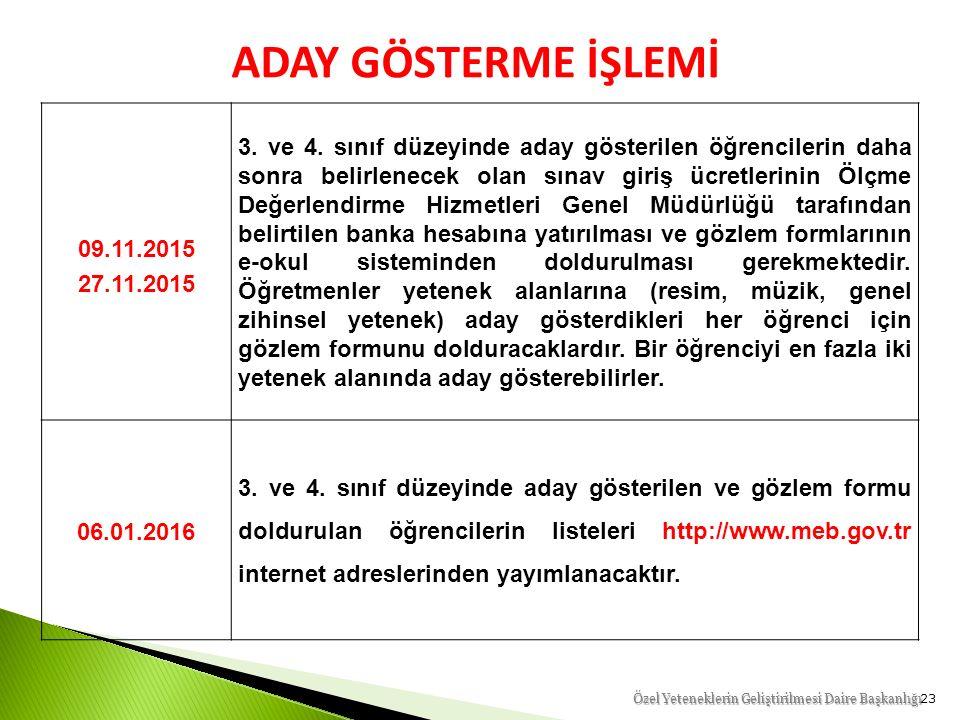 23 Özel Yeteneklerin Geliştirilmesi Daire Başkanlığı ADAY GÖSTERME İŞLEMİ 09.11.2015 27.11.2015 3.
