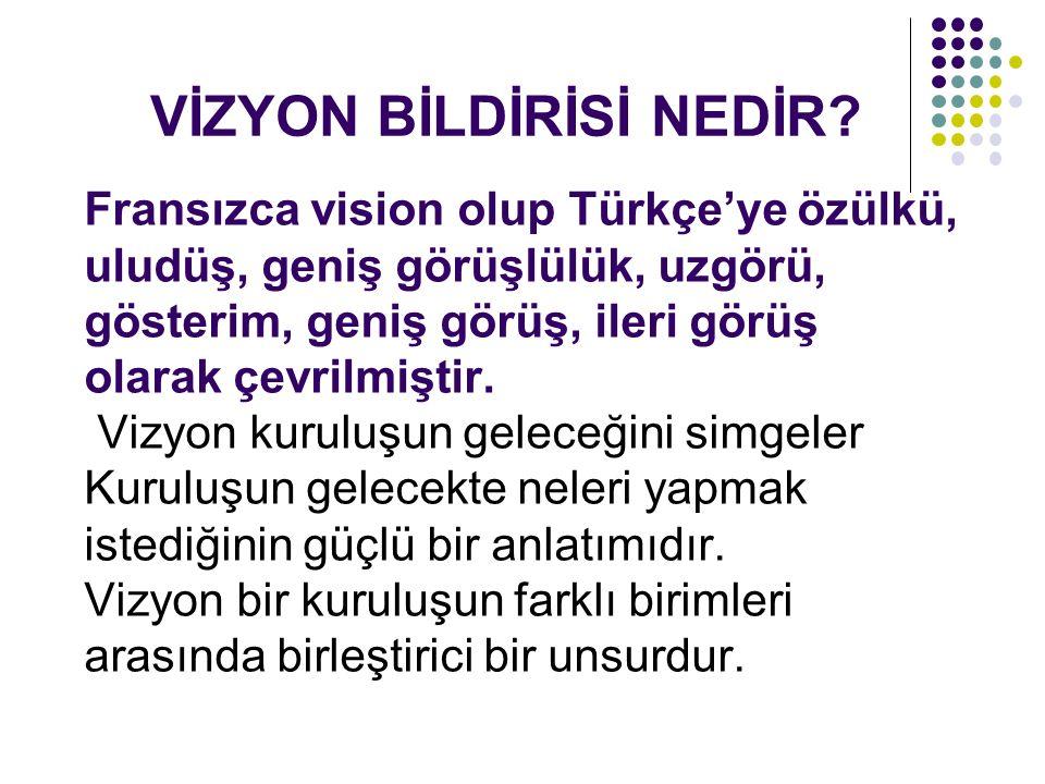 Fransızca vision olup Türkçe'ye özülkü, uludüş, geniş görüşlülük, uzgörü, gösterim, geniş görüş, ileri görüş olarak çevrilmiştir.