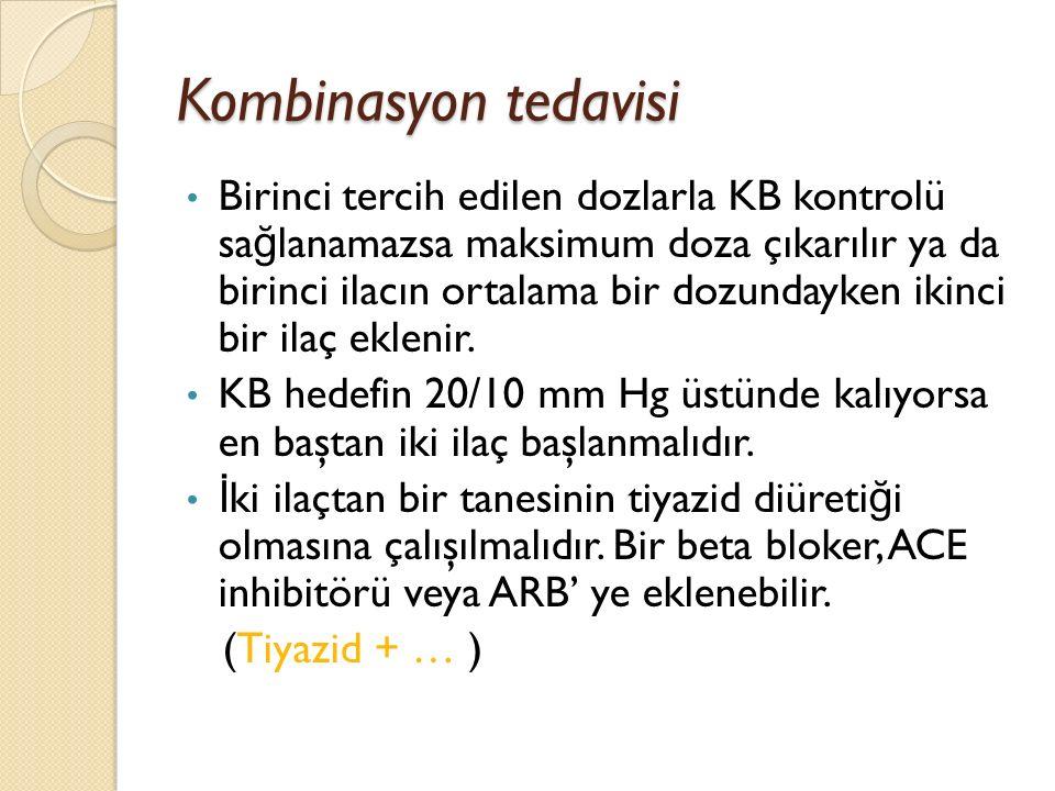 Kombinasyon tedavisi Birinci tercih edilen dozlarla KB kontrolü sa ğ lanamazsa maksimum doza çıkarılır ya da birinci ilacın ortalama bir dozundayken i