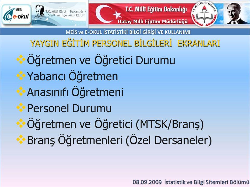 YAYGIN EĞİTİM PERSONEL BİLGİLERİ EKRANLARI   Öğretmen ve Öğretici Durumu   Yabancı Öğretmen   Anasınıfı Öğretmeni   Personel Durumu   Öğretmen ve Öğretici (MTSK/Branş)   Branş Öğretmenleri (Özel Dersaneler)