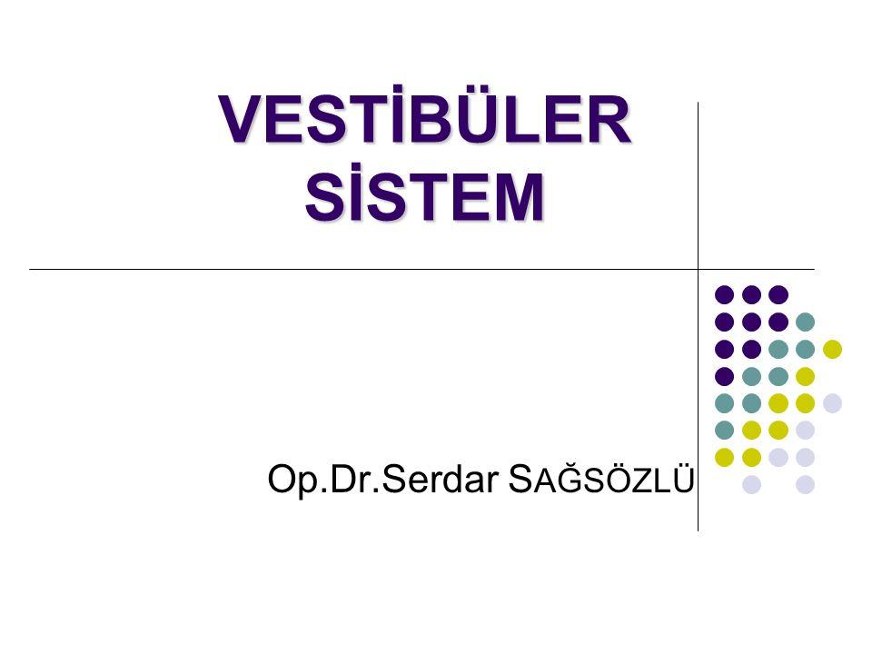 Vestibüler Sistem Temel görevi: Özellikle istemsiz olan baş hareketlerini algılamak ve bunu refleks göz hareketleri ve postüral düzenleme ile birleştirip, vizyonu ve postürü stabil tutmak Temel görevi: Özellikle istemsiz olan baş hareketlerini algılamak ve bunu refleks göz hareketleri ve postüral düzenleme ile birleştirip, vizyonu ve postürü stabil tutmak