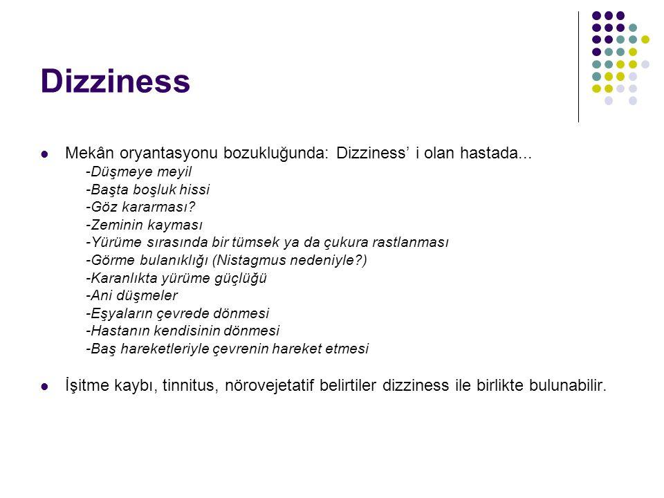 Dizziness Vestibüler sistem sorunlarında uyum bozulur; Baş hareketleriyle etraftaki cisimler hareket eder; Osilopsi... Dizziness... Hasta kendini hare