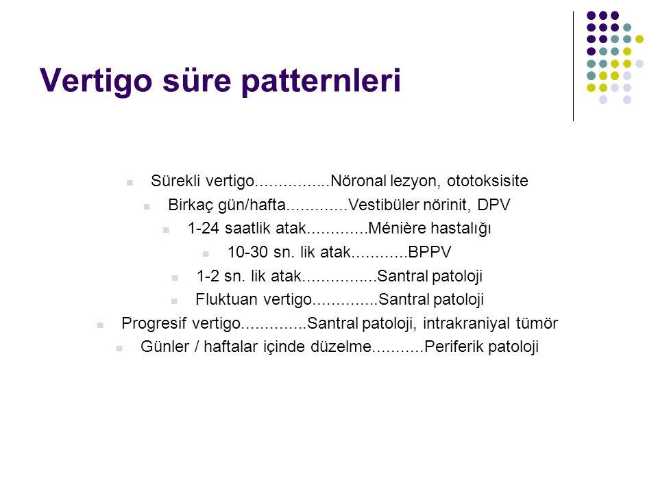 Atağın süresi Saniyeler BPPV BPPV Dakikalar / saatler Meniere hastalığı / sendromu Meniere hastalığı / sendromuGünler vestibüler nörinit vestibüler nö