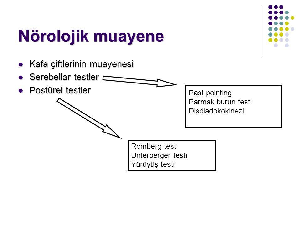 Vestibüler sistem muayenesi Anamnez Otolojik muayene Nörolojik muayene Sistemik ve kardiyolojik muayene Odyolojik muayene Spontan göz hareketlerinin m