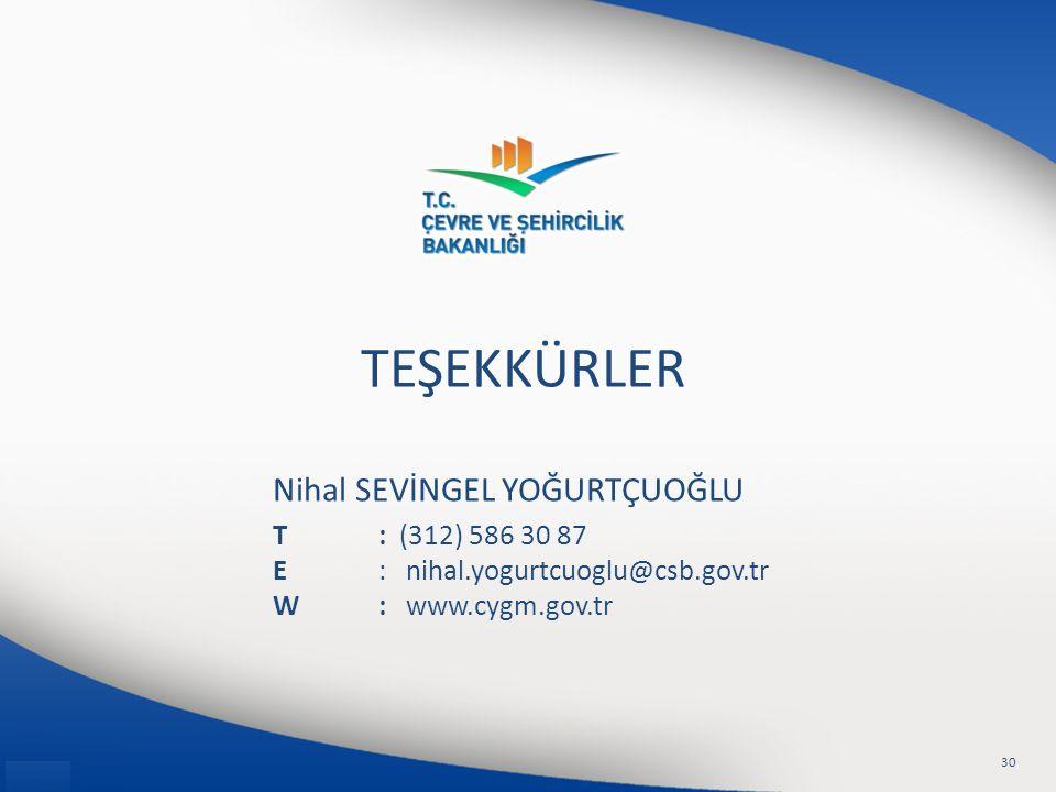 Nihal SEVİNGEL YOĞURTÇUOĞLU T: (312) 586 30 87 E: nihal.yogurtcuoglu@csb.gov.tr W: www.cygm.gov.tr TEŞEKKÜRLER 30