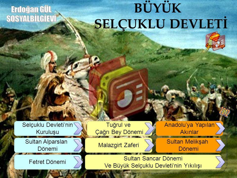 BÜYÜK SELÇUKLU DEVLETİ Selçuklu Devleti'nin Kuruluşu Anadolu'ya Yapılan Akınlar Tuğrul ve Çağrı Bey Dönemi Sultan Alparslan Dönemi Malazgirt Zaferi Su