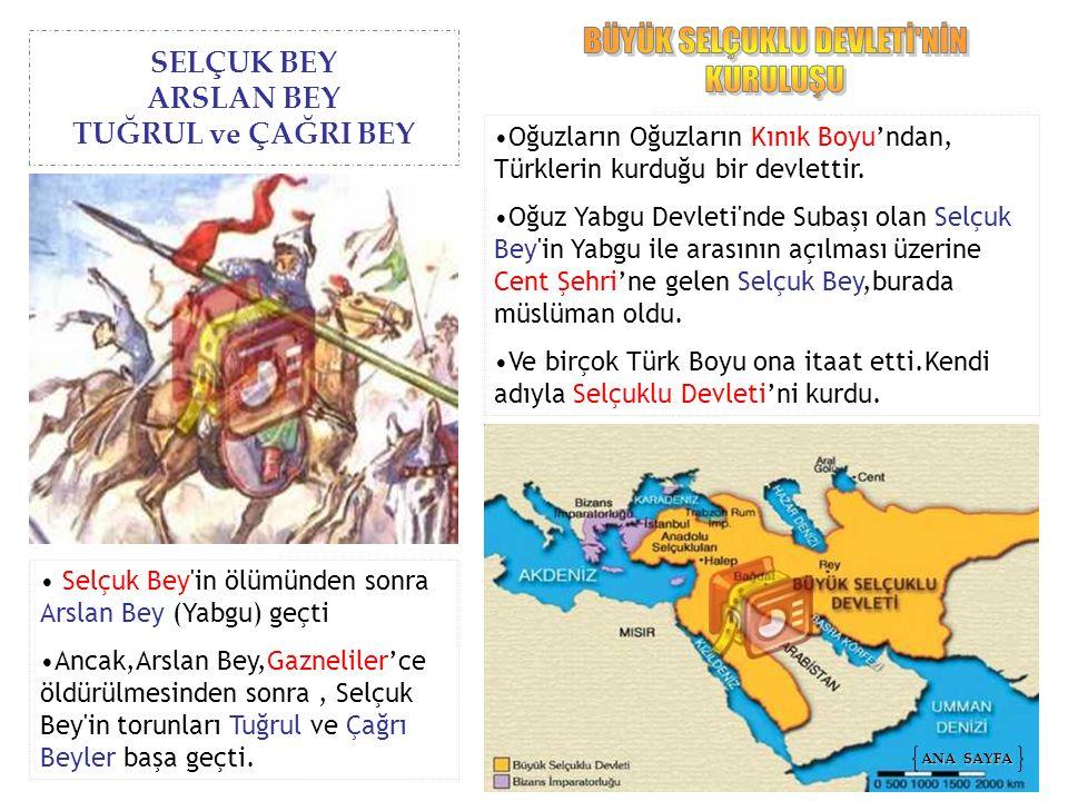 SELÇUK BEY ARSLAN BEY TUĞRUL ve ÇAĞRI BEY Oğuzların Oğuzların Kınık Boyu'ndan, Türklerin kurduğu bir devlettir. Oğuz Yabgu Devleti'nde Subaşı olan Sel