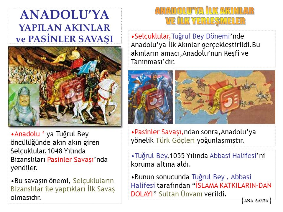 Selçuklular,Tuğrul Bey Dönemi'nde Anadolu'ya İlk Akınlar gerçekleştirildi.Bu akınların amacı,Anadolu'nun Keşfi ve Tanınması'dır. ANA SAYFA ANA SAYFA A