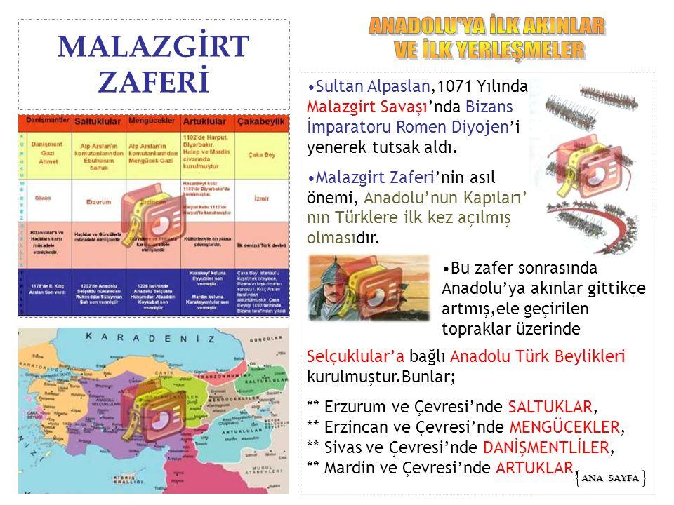Sultan Alpaslan,1071 Yılında Malazgirt Savaşı'nda Bizans İmparatoru Romen Diyojen'i yenerek tutsak aldı. Malazgirt Zaferi'nin asıl önemi, Anadolu'nun