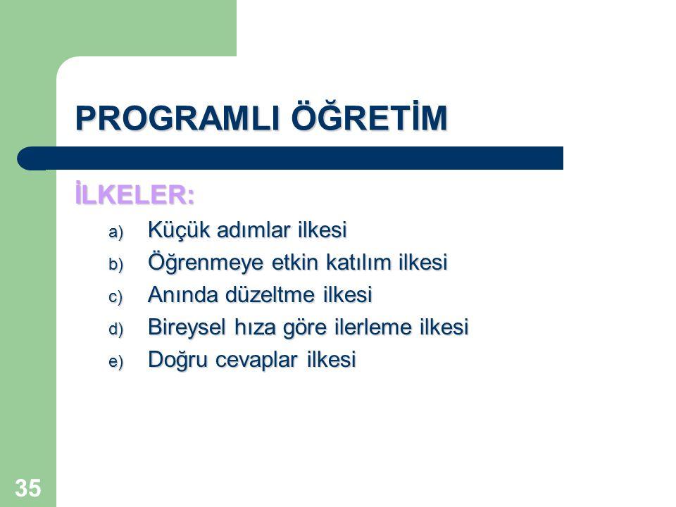 35 PROGRAMLI ÖĞRETİM İLKELER: a) Küçük adımlar ilkesi b) Öğrenmeye etkin katılım ilkesi c) Anında düzeltme ilkesi d) Bireysel hıza göre ilerleme ilkes
