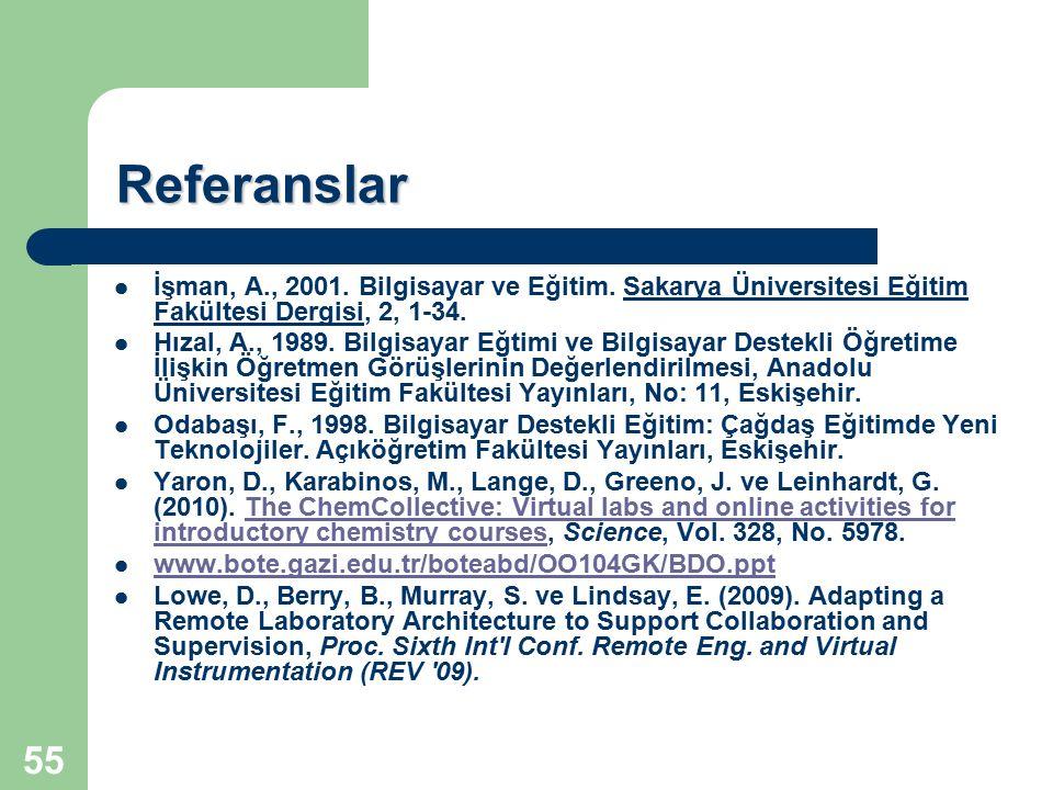 55 Referanslar İşman, A., 2001. Bilgisayar ve Eğitim. Sakarya Üniversitesi Eğitim Fakültesi Dergisi, 2, 1-34. Hızal, A., 1989. Bilgisayar Eğtimi ve Bi