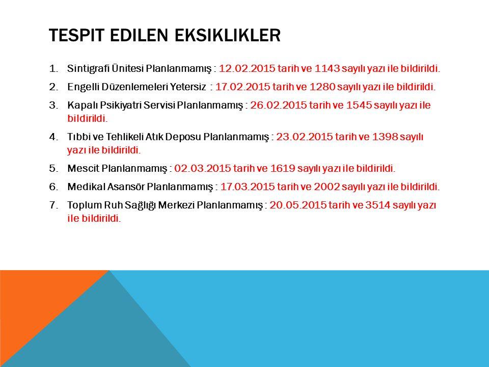 TESPIT EDILEN EKSIKLIKLER 1.Sintigrafi Ünitesi Planlanmamış : 12.02.2015 tarih ve 1143 sayılı yazı ile bildirildi.
