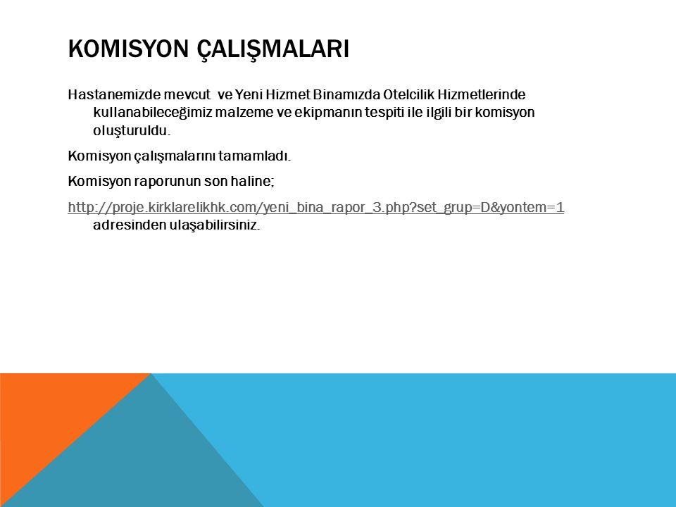 KOMISYON ÇALIŞMALARI Hastanemizde mevcut ve Yeni Hizmet Binamızda Otelcilik Hizmetlerinde kullanabileceğimiz malzeme ve ekipmanın tespiti ile ilgili bir komisyon oluşturuldu.