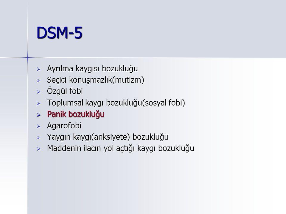 DSM-5  Ayrılma kaygısı bozukluğu  Seçici konuşmazlık(mutizm)  Özgül fobi  Toplumsal kaygı bozukluğu(sosyal fobi)  Panik bozukluğu  Agarofobi  Yaygın kaygı(anksiyete) bozukluğu  Maddenin ilacın yol açtığı kaygı bozukluğu