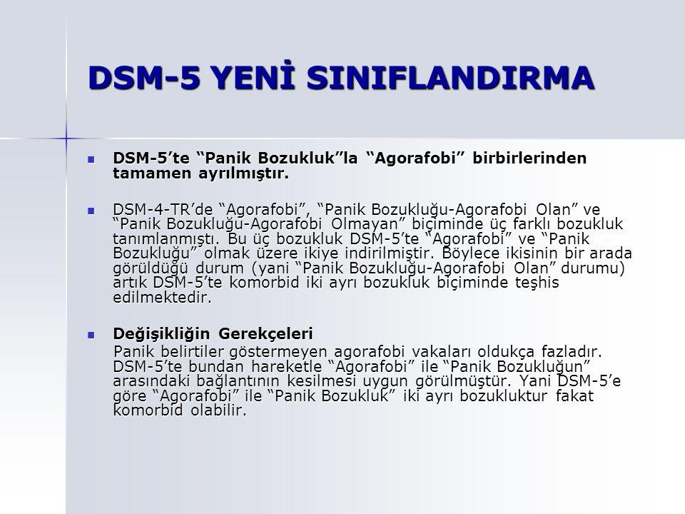 DSM-5 YENİ SINIFLANDIRMA DSM-5'te Panik Bozukluk la Agorafobi birbirlerinden tamamen ayrılmıştır.