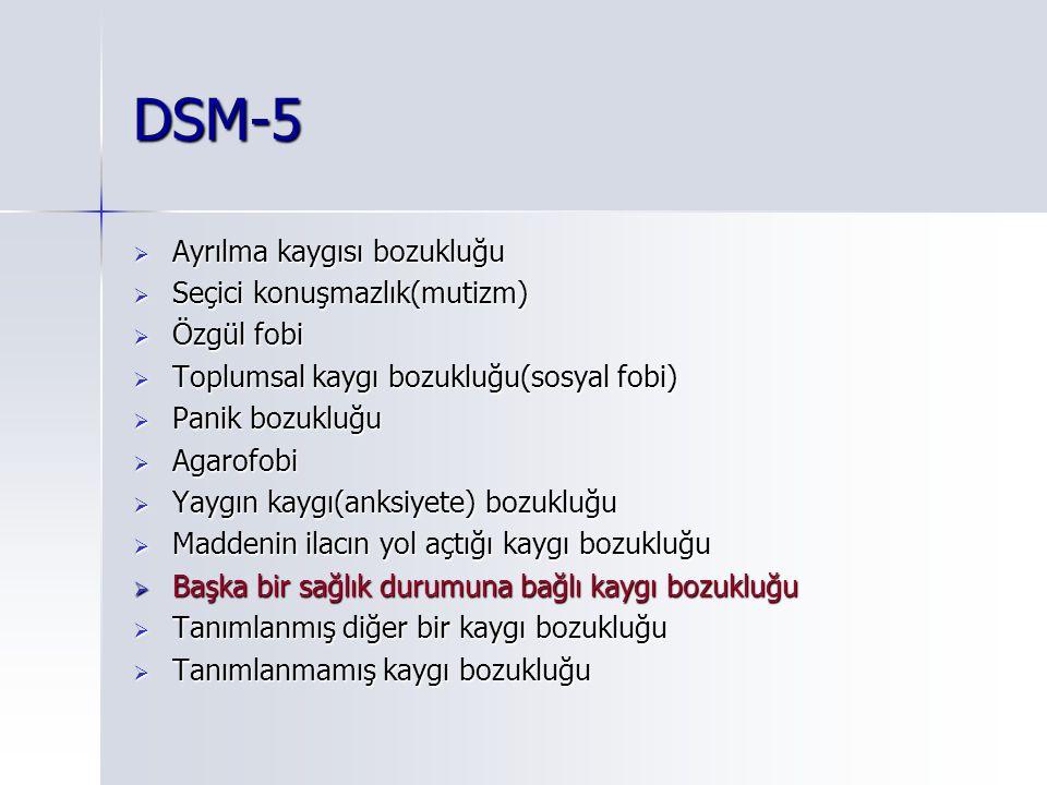 DSM-5  Ayrılma kaygısı bozukluğu  Seçici konuşmazlık(mutizm)  Özgül fobi  Toplumsal kaygı bozukluğu(sosyal fobi)  Panik bozukluğu  Agarofobi  Yaygın kaygı(anksiyete) bozukluğu  Maddenin ilacın yol açtığı kaygı bozukluğu  Başka bir sağlık durumuna bağlı kaygı bozukluğu  Tanımlanmış diğer bir kaygı bozukluğu  Tanımlanmamış kaygı bozukluğu