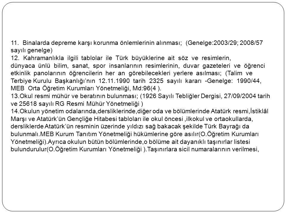 11. Binalarda depreme karşı korunma önlemlerinin alınması; (Genelge:2003/29; 2008/57 sayılı genelge) 12. Kahramanlıkla ilgili tablolar ile Türk büyükl