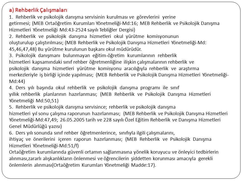 a) Rehberlik Çalışmaları 1. Rehberlik ve psikolojik danışma servisinin kurulması ve görevlerini yerine getirmesi; (MEB Ortaöğretim Kurumları Yönetmeli
