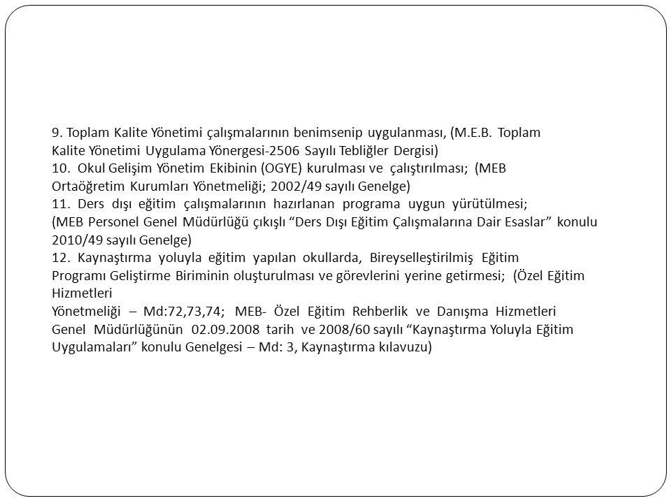 9. Toplam Kalite Yönetimi çalışmalarının benimsenip uygulanması, (M.E.B. Toplam Kalite Yönetimi Uygulama Yönergesi-2506 Sayılı Tebliğler Dergisi) 10.