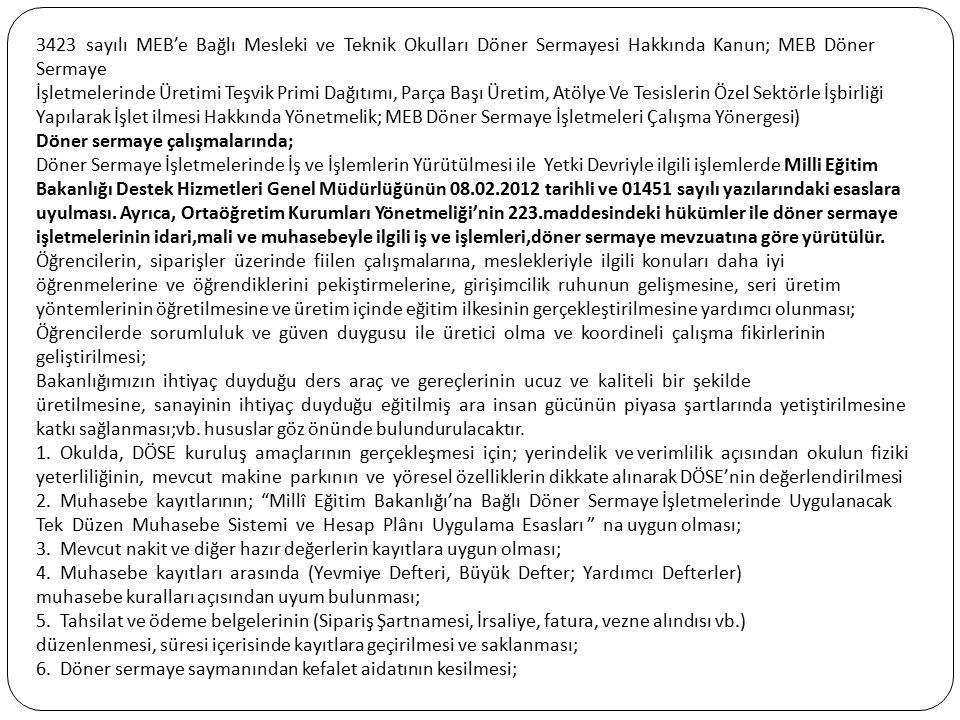 3423 sayılı MEB'e Bağlı Mesleki ve Teknik Okulları Döner Sermayesi Hakkında Kanun; MEB Döner Sermaye İşletmelerinde Üretimi Teşvik Primi Dağıtımı, Par