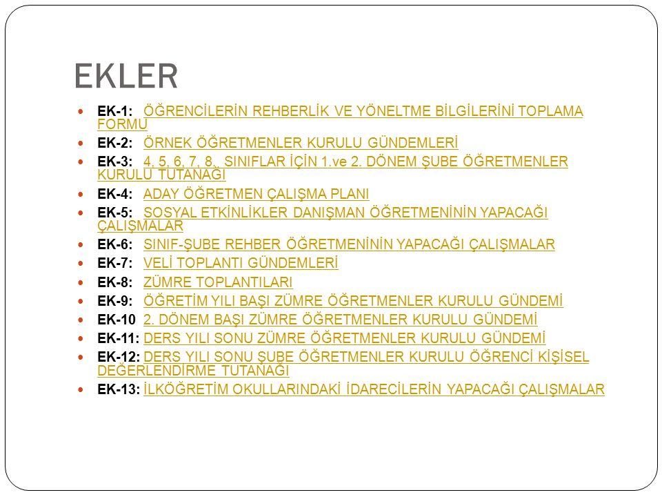 EKLER EK-1:ÖĞRENCİLERİN REHBERLİK VE YÖNELTME BİLGİLERİNİ TOPLAMA FORMUÖĞRENCİLERİN REHBERLİK VE YÖNELTME BİLGİLERİNİ TOPLAMA FORMU EK-2:ÖRNEK ÖĞRETME