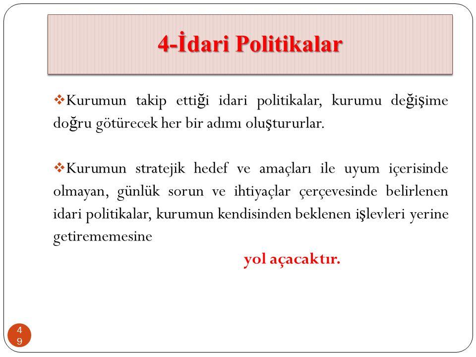 4-İdari Politikalar  Kurumun takip etti ğ i idari politikalar, kurumu de ğ i ş ime do ğ ru götürecek her bir adımı olu ş tururlar.  Kurumun strateji