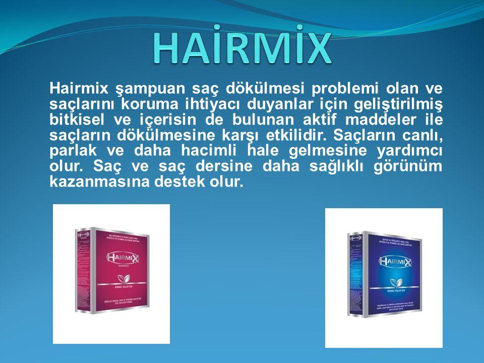 Hairmix şampuan saç dökülmesi problemi olan ve saçlarını koruma ihtiyacı duyanlar için geliştirilmiş bitkisel ve içerisin de bulunan aktif maddeler il