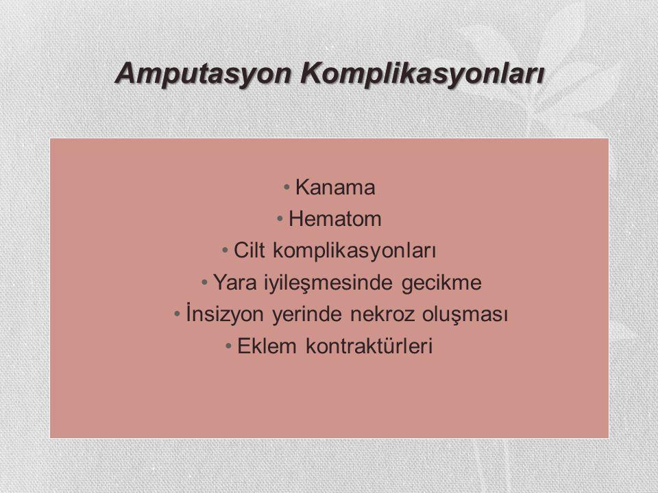 Amputasyon Komplikasyonları Kanama Hematom Cilt komplikasyonları Yara iyileşmesinde gecikme İnsizyon yerinde nekroz oluşması Eklem kontraktürleri
