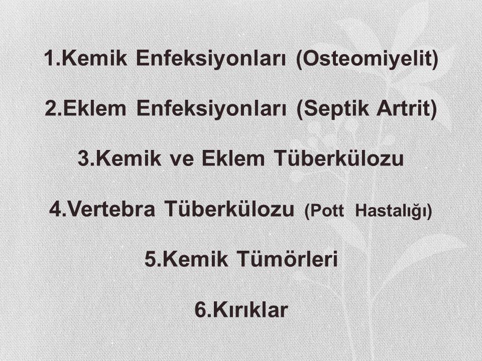 1.Kemik Enfeksiyonları (Osteomiyelit) 2.Eklem Enfeksiyonları (Septik Artrit) 3.Kemik ve Eklem Tüberkülozu 4.Vertebra Tüberkülozu (Pott Hastalığı) 5.Ke