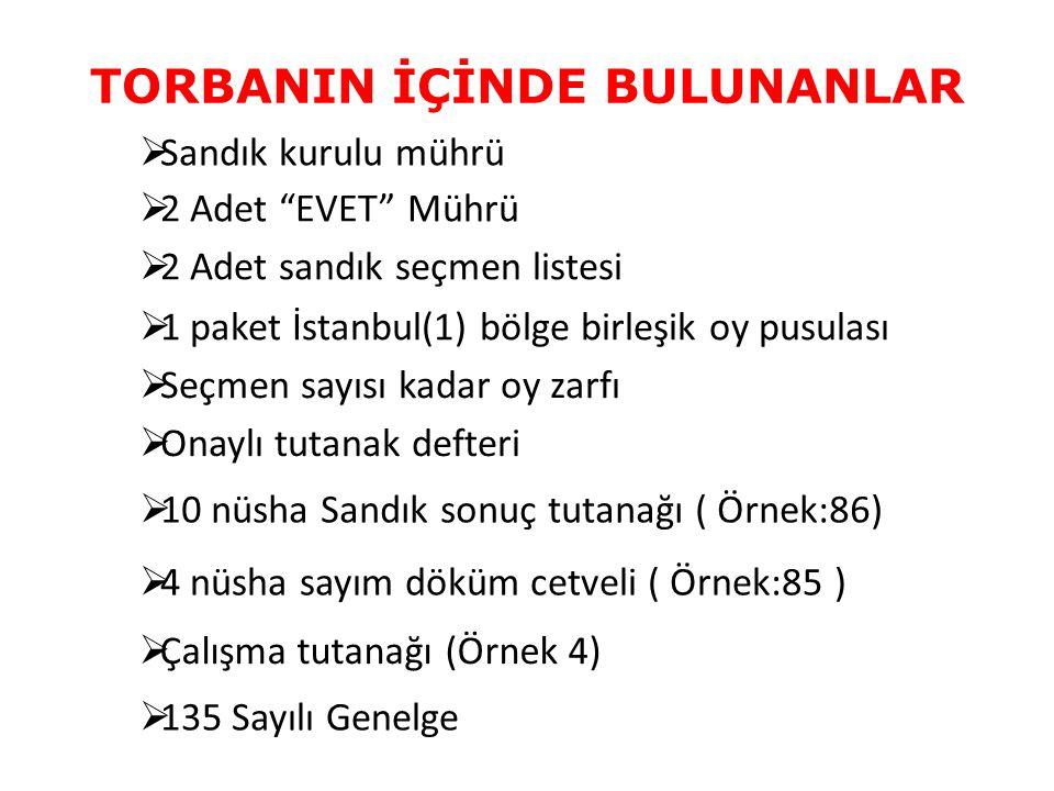 TORBANIN İÇİNDE BULUNANLAR  Sandık kurulu mührü  1 paket İstanbul(1) bölge birleşik oy pusulası  Seçmen sayısı kadar oy zarfı  10 nüsha Sandık son