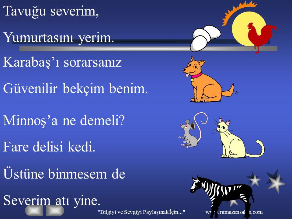 Bilgiyi ve Sevgiyi Paylaşmak İçin... www.ramazansakin.com Aşağıda bazı hayvanların resimleri verilmiştir.Resimleri inceleyerek hayvanlardan tavşan olanını gösteriniz.