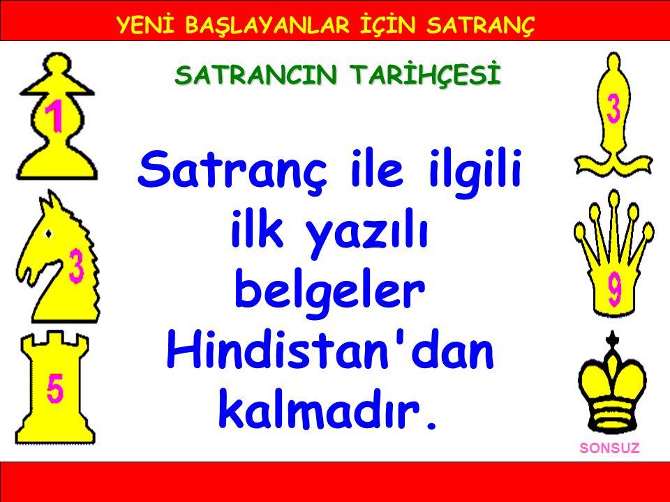 YENİ BAŞLAYANLAR İÇİN SATRANÇ TÜRKİYE'DE SATRANCIN TARİHÇESİ SONSUZ Türkiye'de satrancın tarihi oldukça eskidir.