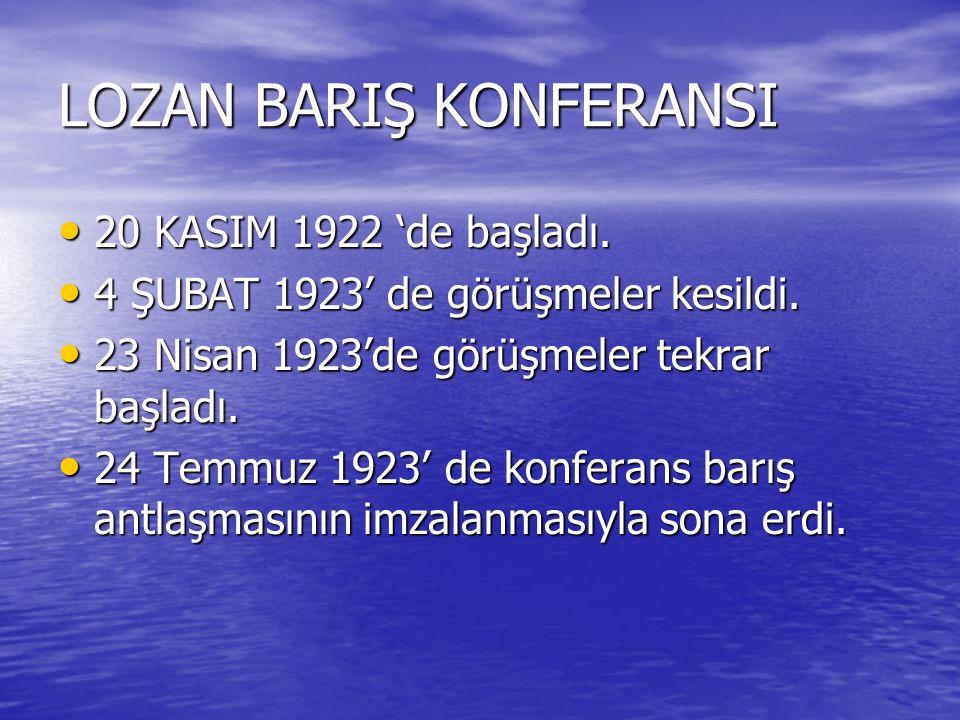 LOZAN BARIŞ KONFERANSI 20 KASIM 1922 'de başladı. 20 KASIM 1922 'de başladı. 4 ŞUBAT 1923' de görüşmeler kesildi. 4 ŞUBAT 1923' de görüşmeler kesildi.