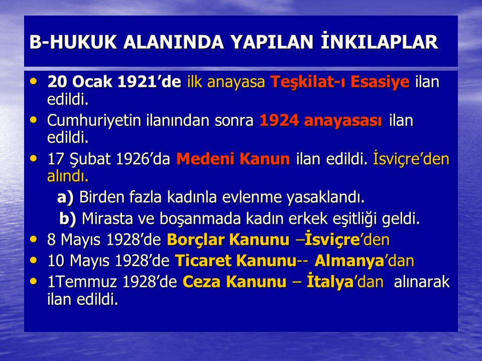 B-HUKUK ALANINDA YAPILAN İNKILAPLAR 20 Ocak 1921'de ilk anayasa Teşkilat-ı Esasiye ilan edildi. 20 Ocak 1921'de ilk anayasa Teşkilat-ı Esasiye ilan ed