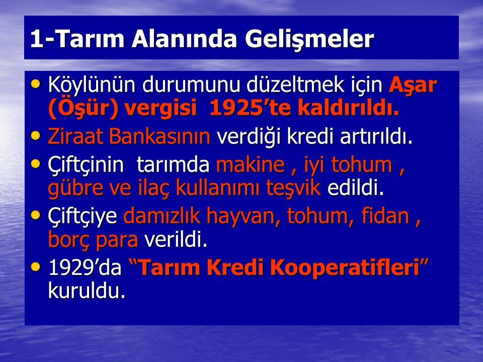 1-Tarım Alanında Gelişmeler Köylünün durumunu düzeltmek için Aşar (Öşür) vergisi 1925'te kaldırıldı. Köylünün durumunu düzeltmek için Aşar (Öşür) verg