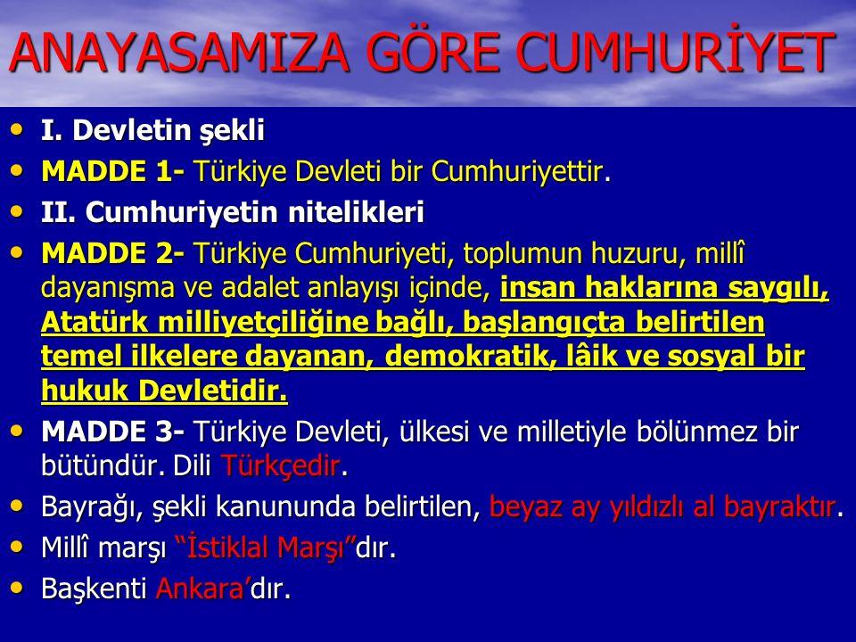 ANAYASAMIZA GÖRE CUMHURİYET I. Devletin şekli I. Devletin şekli MADDE 1- Türkiye Devleti bir Cumhuriyettir. MADDE 1- Türkiye Devleti bir Cumhuriyettir