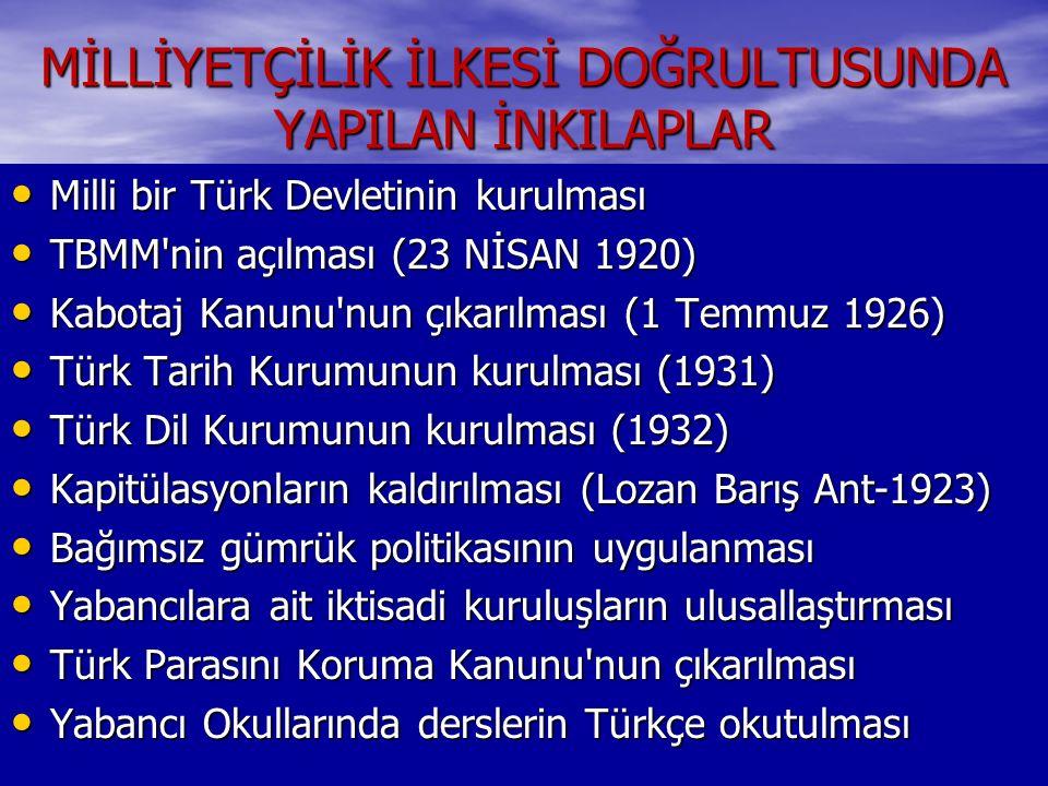 MİLLİYETÇİLİK İLKESİ DOĞRULTUSUNDA YAPILAN İNKILAPLAR Milli bir Türk Devletinin kurulması Milli bir Türk Devletinin kurulması TBMM'nin açılması (23 Nİ
