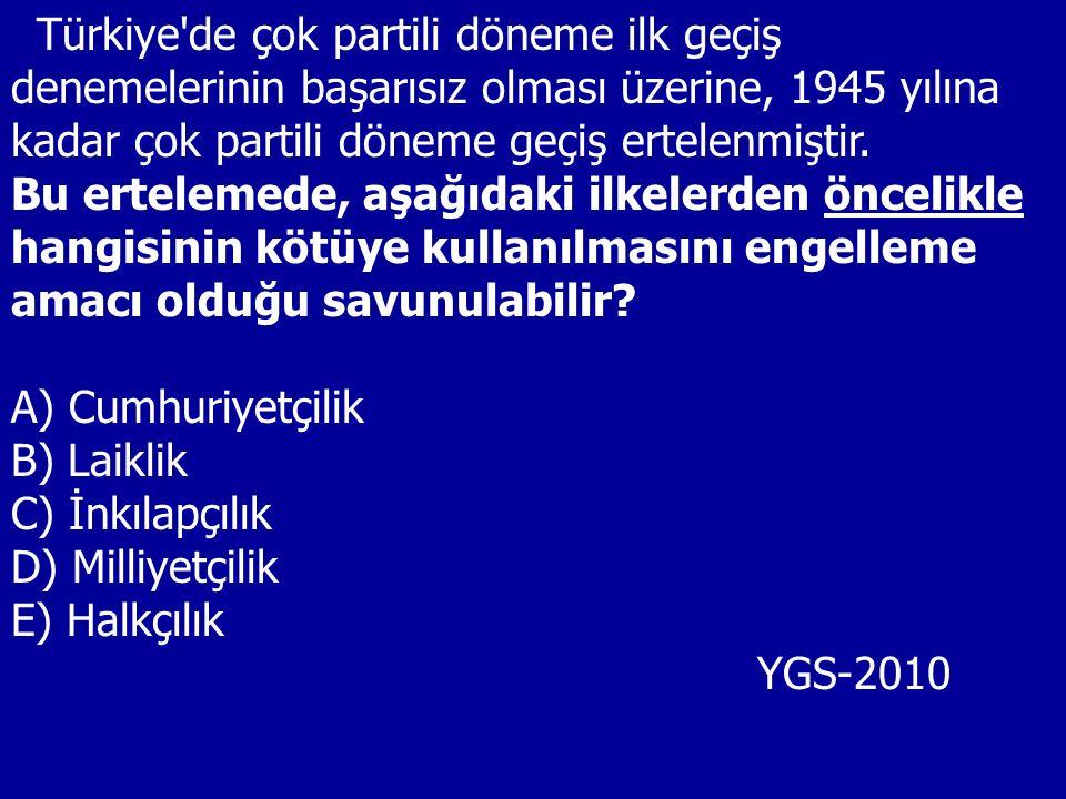 Türkiye'de çok partili döneme ilk geçiş denemelerinin başarısız olması üzerine, 1945 yılına kadar çok partili döneme geçiş ertelenmiştir. Bu ertelemed