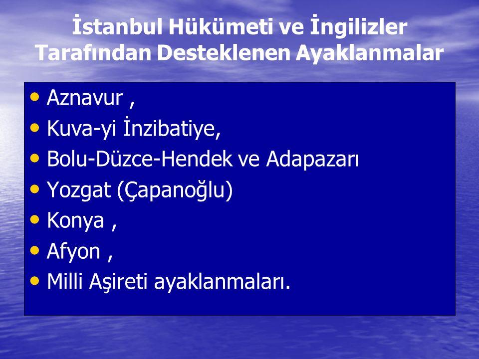 İstanbul Hükümeti ve İngilizler Tarafından Desteklenen Ayaklanmalar Aznavur, Kuva-yi İnzibatiye, Bolu-Düzce-Hendek ve Adapazarı Yozgat (Çapanoğlu) Kon