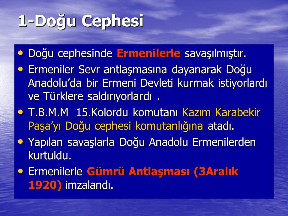 1-Doğu Cephesi Doğu cephesinde Ermenilerle savaşılmıştır. Doğu cephesinde Ermenilerle savaşılmıştır. Ermeniler Sevr antlaşmasına dayanarak Doğu Anadol