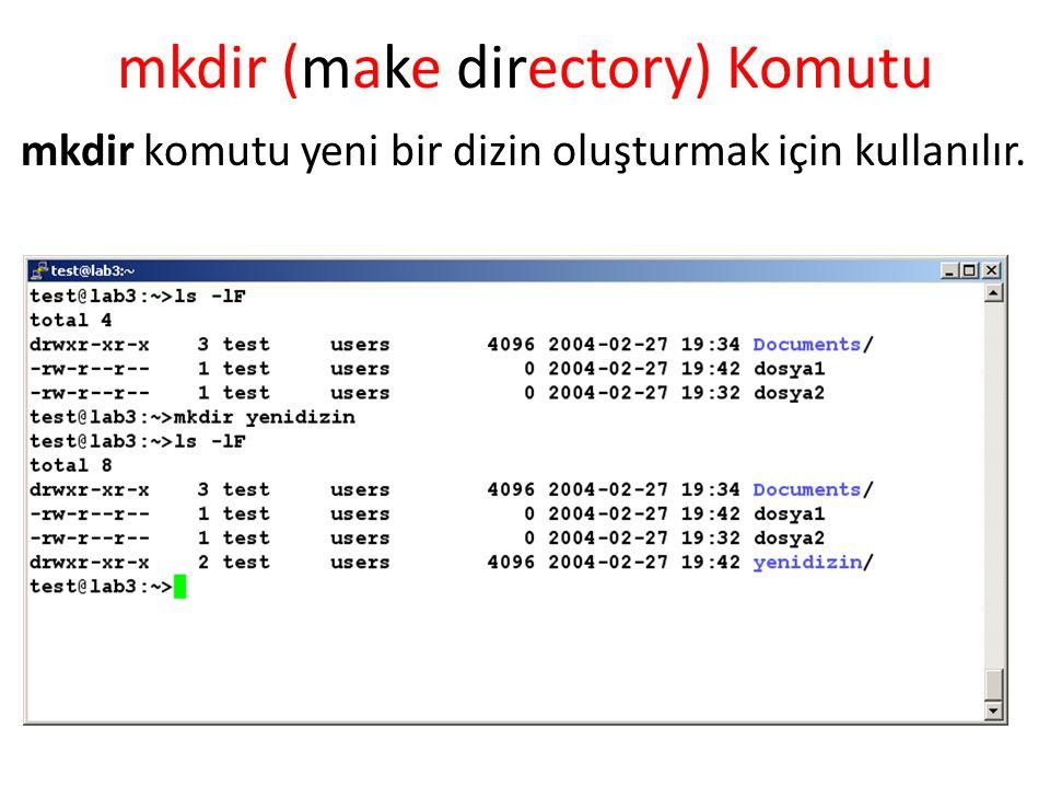mkdir (make directory) Komutu mkdir komutu yeni bir dizin oluşturmak için kullanılır.