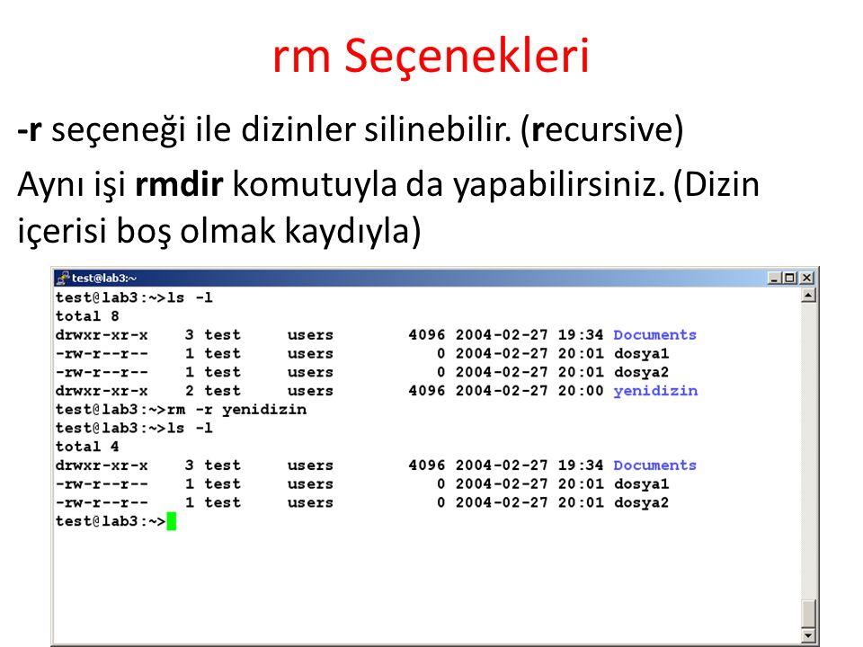 rm Seçenekleri -r seçeneği ile dizinler silinebilir. (recursive) Aynı işi rmdir komutuyla da yapabilirsiniz. (Dizin içerisi boş olmak kaydıyla)