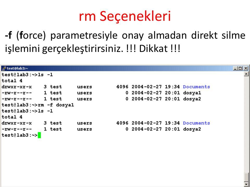 rm Seçenekleri -f (force) parametresiyle onay almadan direkt silme işlemini gerçekleştirirsiniz. !!! Dikkat !!!