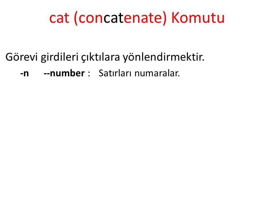 cat (concatenate) Komutu Görevi girdileri çıktılara yönlendirmektir.